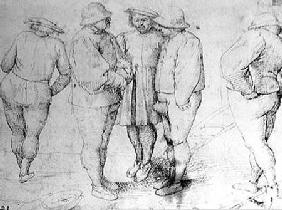 Peasants in Conversation (pen & ink on paper)