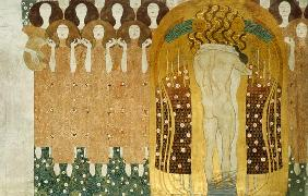Here's a Kiss to the Whole World!, detail of the Beethoven Frieze, 1902 (casein, gold leaf, semi-pre