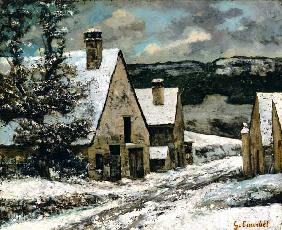 Village exit in winter