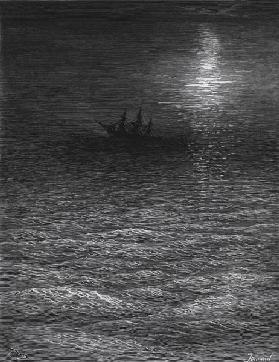 The marooned ship in a moonlit sea, scene from ''The Rime of the Ancient Mariner'' S.T. Coleridge,S.