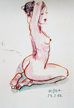 Female act, hands at the neck, sitting on the lower legs ...