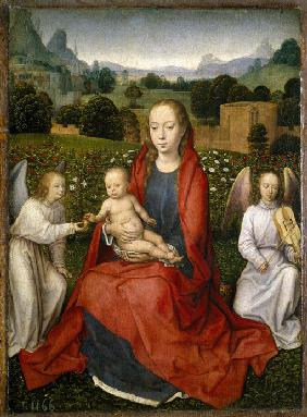 Virgin and child and two angels