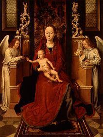 Madonna with the child on the throne with two angels