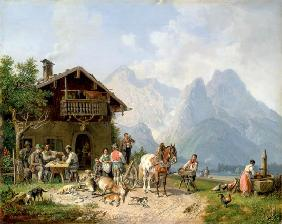 Drinking Hunter in front of the Huntinglodge near Partenkirchen