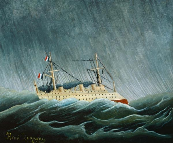 Steamship in the storm.