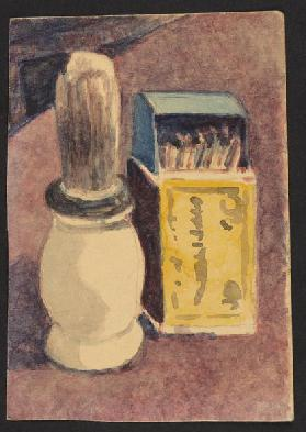 Shaving brush and matches, c.1930 (pencil & w/c on paper)