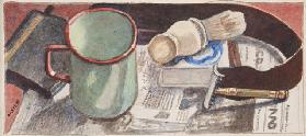 Shaving equipment, c.1930 (pencil & w/c on paper)