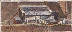 Rounton Road lean-to, c.1930 (pencil & w/c on paper)