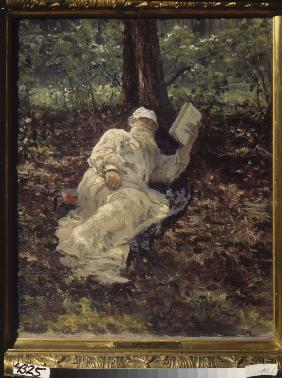 Leo Tolstoy resting in a forest