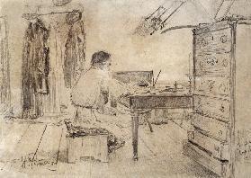 The author Lev Tolstoy in his Study room