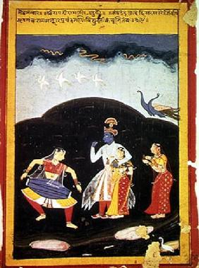 Krishna and Radha in the rain with two musicians, Rajasthan