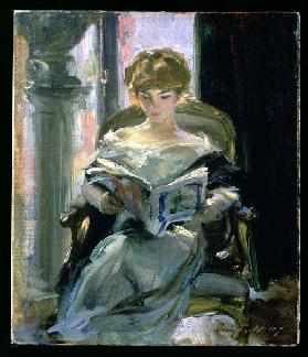 Woman Reading (oil on canvas)