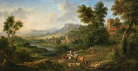 Drovers and Shepherdesses in an Idyllic Pastoral Landscape