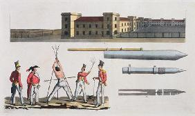 Chatham Barracks, a Military Punishment called the 'Triangle' and Congreve Rockets, plate 17 from 'T