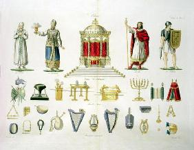 Hebrew Levi, Priest, King and Soldier with Sacred Furnishings and Musical Instruments, plate 2, clas