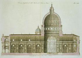 Longitudinal Cross-Section of St. Peter's in Rome, plate 26 from Part III of 'The History of the Nat