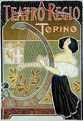 Reproduction of a poster advertising the 'Theatre Royal', Turin (colour litho)