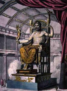 Statue of Jupiter in a Temple, from 'Costumi dei Romani', engraved by Angelo Biasioli (1790-1830), c