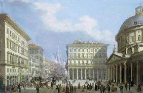 The City Hall and Piazza di San Carlo from 'Views of Milan and its Environs' (colour litho)