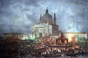 View of the Chiesa del Redentore and Boats on Carnival Day (litho)
