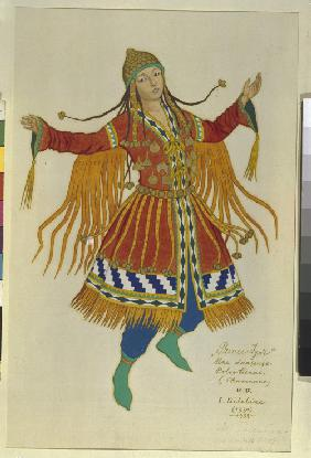 Polovtsian Maiden. Costume design for the opera Prince Igor by A. Borodin