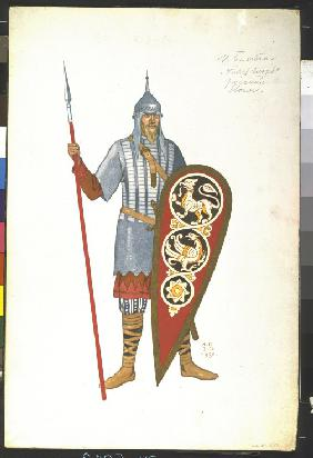 Russian Warrior. Costume design for the opera Prince Igor by A. Borodin