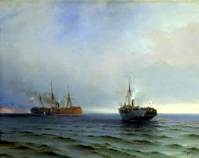 "Capture of the Turkish military transport ""Messina"" by the steamer ""Russia"" on the Black Sea on the"