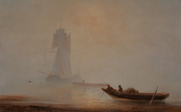 Fishing boat at the coast in the dawn