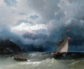 Shipping in Stormy Sea