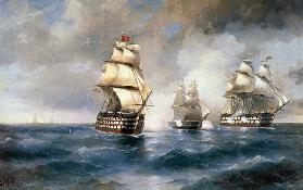 "Brig ""Mercury"" Attacked by Two Turkish Ships on May 14, 1829"