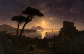 The Bay of Naples at Moonlit Night