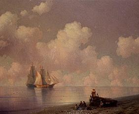 Coastal landscape with fishermen and sailing ships