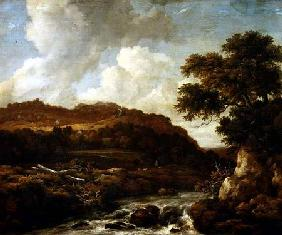 Mountainous Wooded Landscape with a Torrent