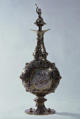 Silver and blue glass flask mounted with garnets, niello and partially gilded, ca 1851, made by Fran
