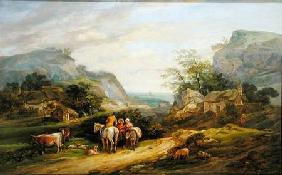 Landscape with figures and cattle