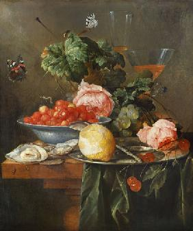 Fruit still life with butterfly