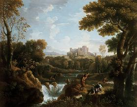 Arcadian landscape with shepherds