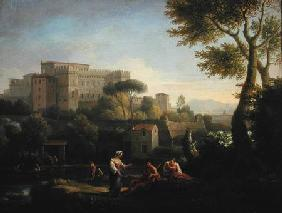 Landscape with figures and a fortress by a river (pair of 81826)