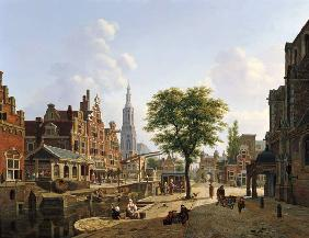 Dutch town scene with canal