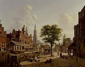 Dutch town scene at the channel