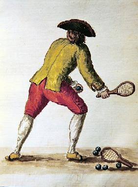 Nobleman playing racquets
