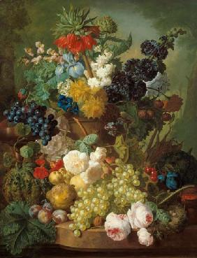Quiet life with fruits and flowers