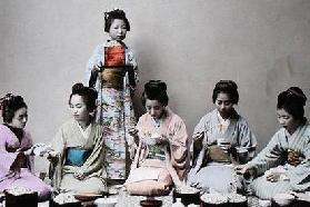 Young Japanese Girls Eating Noodles, c.1900 (hand coloured photo)