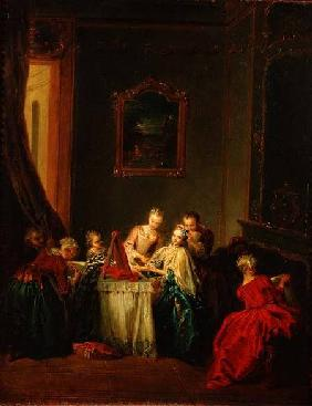 The Toilet: Young woman at her Dressing Table