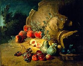 Obststillleben next to a stoneware vase brought down