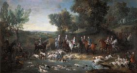 Louis XV (1710-1774) Stag Hunting in the Forest at Saint-Germain