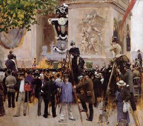The Funeral of Victor Hugo (1802-85) at the Arc de Triomphe, 1885 (oil on panel)