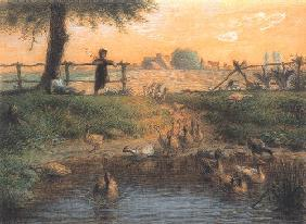 Peasant children at a goose pond