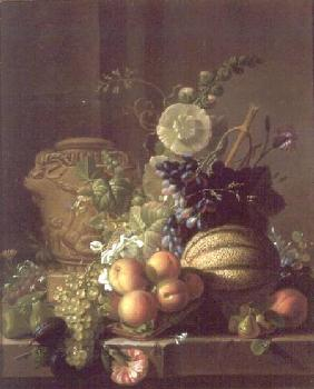 A Still Life of a Melon, Peaches, Figs, Plums, Grapes and Other Fruit on a Marble Ledge