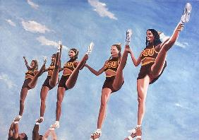 Florida State Cheerleaders, 2002 (oil on canvas)